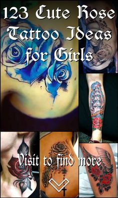 123 Cute Rose Tattoo Ideas for Girls Flower Tattoo Designs, Flower Tattoos, Heart With Infinity Tattoo, Unique Roses, Cute Rose, Feminine Tattoos, Word Tattoos, Love Flowers, Watercolor Tattoo