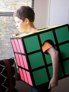 Pin for Later: homemade halloween costumes. With just a box and some construction paper, a quirky kid can impress friends as this infamous puzzler from yesteryear. Bonus points if he or she can actually solve one! Halloween Costumes Kids Homemade, Theme Halloween, Hallowen Costume, Last Minute Halloween Costumes, Easy Halloween, Costume Ideas, Zombie Costumes, Diy Costumes, Halloween Couples