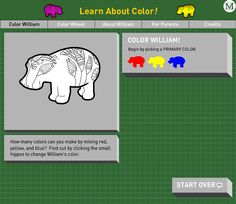 Learn About Color | How many colors can you make by mixing red, yellow and blue? Find out by coloring the Met's mascot, William the beloved Egyptian hippo! #Art #Education #Kids (Ages 4-6)