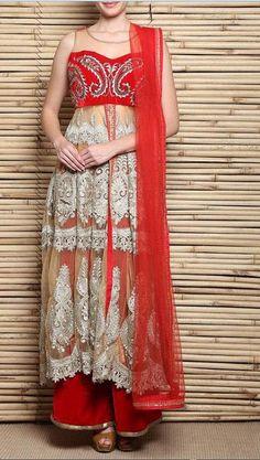 #Red & #Beige Embroidered #Net & #Velvet #Sharara Set