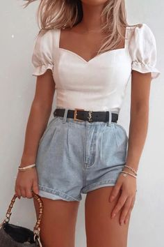 Order the Fashion Influx White Frill Puff Sleeved Crop Top from In The Style. Mode Outfits, Girly Outfits, Cute Casual Outfits, Pretty Outfits, Fashion Outfits, Stylish Outfits, Outfits 90s, Cute Travel Outfits, Woman Outfits