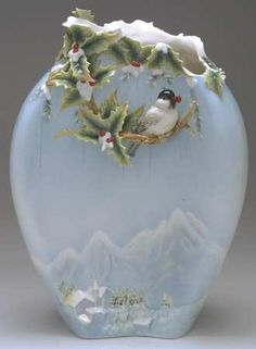 Franz Collection Holiday Beginnings Chickadee  Vase