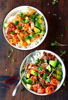 Poke Bowl - Lou Rbrvl - - Ahi Poke Bowl Hawaiian Ahi Poke Bowl with salmon a. Ahi Poke Bowl - Lou Rbrvl - - Ahi Poke Bowl Hawaiian Ahi Poke Bowl with salmon a. Comidas Fitness, Asian Recipes, Healthy Recipes, Drink Recipes, Recipes Dinner, Sushi Recipes, Fast Recipes, Seafood Recipes, Ahi Poke