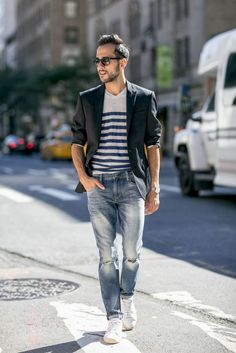 Blazer, striped shirt, distressed denim, and sneakers. Done.
