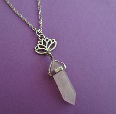 rose quartz lotus flower necklace crystal point by OfStarsAndWine