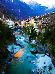 """This should also go in my """"Color Me Awesome"""" and """"Art that Loves Me"""" Boards. Stunning color, gorgeous location, and a beautiful quaintness. <3 Chiavenna - Sondrio - Italy"""