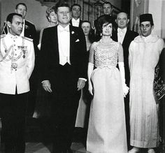 H.M. King Hassan II of Morocco, President John F. Kennedy of The United States of America, Jacqueline Kennedy, Firts Lady of The United States of America; and H.R.H. Prince Moulay Abdallah of Morocco