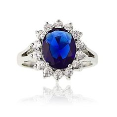 Sterling Silver Oval Blue Sapphire and CZ Princess DianaKate Middleton Ring Size 8 Available in sizes 6 through 9 * Want additional info? Click on the image.