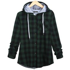 Christmas Plaid Hoodie Plus Size Coat