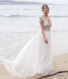 >> Click to Buy << Summer Style Beach wedding dress Plunging V-neck Open Back A-line Lace Beading Vestido de Novia 2016 #Affiliate
