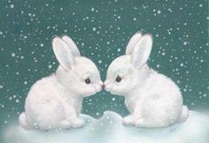 """""""vintage christmas greeting card"""" in All Categories Animals And Pets, Baby Animals, Cute Animals, Bunny Art, Cute Bunny, White Bunnies, Snow Bunnies, Bunny Rabbits, Cute Animal Drawings"""