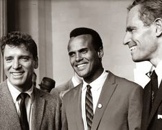 Singer/actor/activist Harry Belafonte, in 1963, with actors Burt Lancaster (L.) and Charlton Heston.