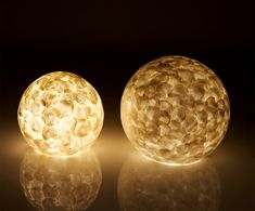 Natural White Capiz Globe Shell Lamps for Table by Collectiviste