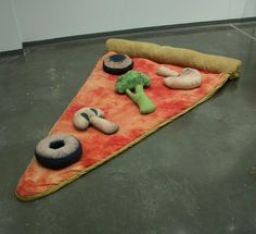 Oh yes, yes, yes. I think we need this around the office.   Slice of Pizza Sleeping Bag w/ Optional Veggie Pillows. $250.00, via Etsy.