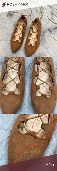 Chase & Chloe Ryan 2 Lace Up Pointed Flats Brown Chase & Chloe Ryan 2 Lace Up Pointed Flats Brown Size 8  Size 8  Suede Right toe damaged (please view pictures) Lace up past ankles Scuff on the suede on the top of the right foot (please view pictures) chase and chloe Shoes Flats & Loafers