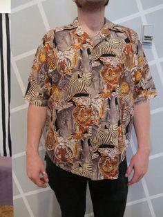 80s Animal Safari Short Sleeve Button Down Shirt by Kokorokoko, $24.00