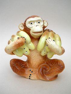 Vintage Monkey Salt and Pepper Shaker by whatnotsandsuch on Etsy, $15.00
