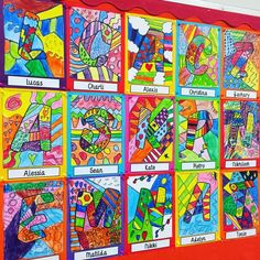 """Check out these gorgeous Romero Britto inspired art activities. {for instructional ideas: search """"inspiring Britto artwork""""} Britto Art, Line Art Projects, Name Art Projects, Name Art, Name Design Art"""