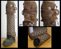 """Homemade studded leather lower leg and bracers. Use in LARP so they look cool but I'm not sure how they would fare in """"real"""" combat, at least without something to soften the impact of the blows."""