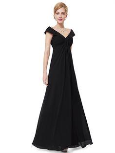 Fashion Off Shoulder Sheath Black Chiffon V Neck Cheap Long Prom Dress