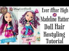 Ever After High Madeline Hatter Doll Hair Restyling Tutorial + How to Boil Wash & Curling - YouTube