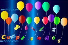 Letras de feliz cumpleaños flotando con globos