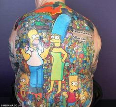 Michael Baxter has 203 characters from popular cartoon series The Simpsons tattooed across...