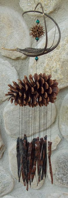 Wind chimes made from natural materials inspiration for an open-ended craft project