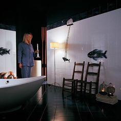 Indoor tile / for bathrooms / wall-mounted / ceramic - IL VELIERO E LA BALENA by Marcello Chiarenza - Ceramica Bardelli