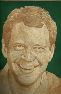 Leaf art Portrait of David Letterman. Handmade with by museumshop, $300.00Have you SEEN ancient leaf art?  Can U BELIEVE it is made of leaves! I am an artist from Galveston, Texas.  UNIQUE, HANDMADE in USA  leaf art for your home, office or corporate gift needs visit www.etsy.com/shop/museumshop.