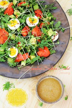 Smoked Salmon Salad with Miso Dressing - Asian at Home