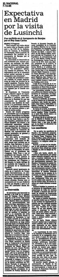 En 1986 Jaime Lusinchi visitó España en una visita oficial para firmar un acuerdo de cooperación económica y comercial Publicado el 7 de octubre de 1986