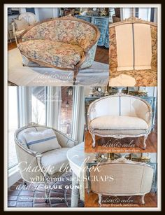 Upholstering a French settee with salvaged grain sack scraps Reupholster Furniture, Furniture Upholstery, Painted Furniture, French Decor, French Country Decorating, Cottage Decorating, Decorating Ideas, Decor Ideas, Interior Decorating