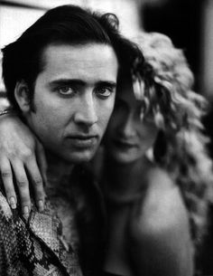 """Nicolas Cage and Laura Dern on the set of """"Wild at Heart"""" (David Lynch, 1990) via Le Cinéma on Twitter"""
