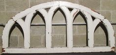 ~ BIG ANTIQUE OAK WINDOW WITH GOTHIC ARCHES ~ HEADBOARD ~ 72 x 34 ~ SALVAGE