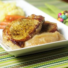 Boneless pork loin chops, warmly spiced, lightly pan-fried and served with homemade applesauce.