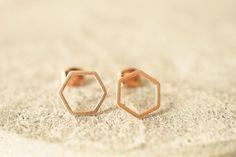 Ohrstecker - Ohrstecker * honeycomb * rose gold - ein Designerstück von ChrimsChrams bei DaWanda