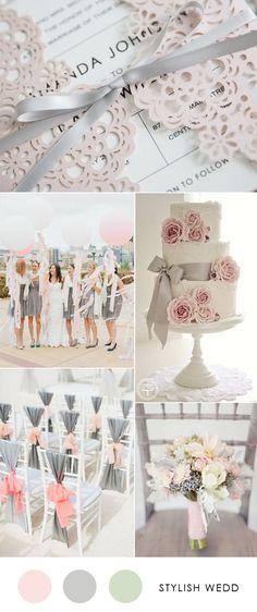 blush and gray elegant wedding invitations for wedding 2017