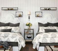 guest room in FLAG STONE GRAY QUILT Velvet Channel Quilt & Shams | Pottery Barn