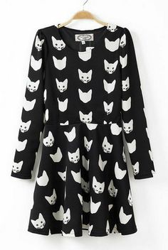 Cats' Head Printing Long Sleeves Dress