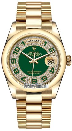 a39dd980ed6 118208 Green Pave Diamond Arabic President Rolex Day-Date 36mm Yellow Gold  Domed Bezel Midsize Watch