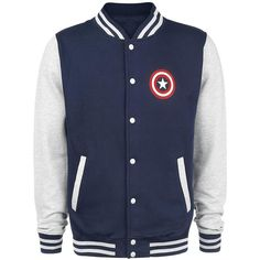 Captain America Varsity Jacket ($56) ❤ liked on Polyvore featuring outerwear, jackets, teddy jacket, letterman jackets, varsity jackets, blue varsity jacket and logo jackets