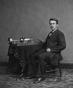 """Photo of Thomas Edison with his phonograph (second model), c.1878. Credit: Levin C. Handy; Library of Congress, Prints and Photographs Division. Read more on the GenealogyBank blog: """"The Wizard of Menlo Park, a.k.a. Inventor Thomas Edison."""" http://blog.genealogybank.com/the-wizard-of-menlo-park-a-k-a-inventor-thomas-edison.html"""