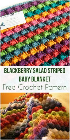 Blackberry Salad Striped Baby Blanket - Free Crochet Pattern #freecrochetpatterns #blackberry #babyblanket #crochet #freepattern