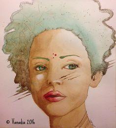 Epifania - Vanadia Art  www.facebook.com/vanadiaart http://vanadiaart.deviantart.com   #china #inchiostro #ink #fantasy #arte #art #watercolour #painting #vanadia #vanadiaart #illustration #woman #donna #etnic #face #volto #viso #girl #ragazza #capelliverdi #greenhair
