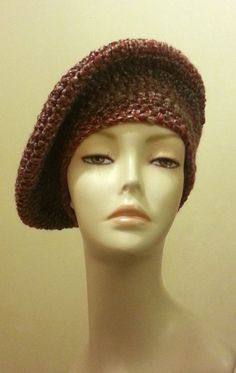 Crocheted  Beret Hat  Beret Cap   Brown Multi ♥ by jazzicrafts. #crochet #berethat
