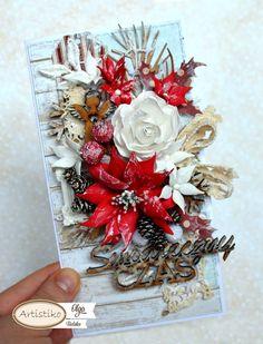 Kartka bożonarodzeniowa, świąteczna. Christmas card. DT Artistiko. Foamiran flowers. Kwiaty z foamiranu.