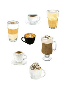 Coffee Cups Art Print 6x8 Print Coffee Print by morningswithcoffee