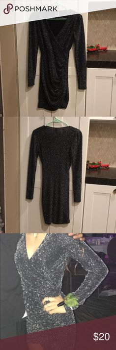 winter formal dress black shimmery, form-fitting, long sleeve dress. only been worn once and in great condition. looks great in pictures! Windsor Dresses Long Sleeve