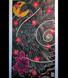 """Black Swan"" Japanese style painting I made. Sorry for the repost I would love to make this into a back piece or sleeve. DM if you would be interested in wearing this. Thanks! #springfieldmo #japanese #tattooart #painting #watercolor #liquidacrylic #waverlycolorco #irezumi #japanesetattoo #swan #blackswan #floraltattoo #birdtattoo #handmade #folkart #americana #flashworkers #tattooflash #traditionaltattoo"